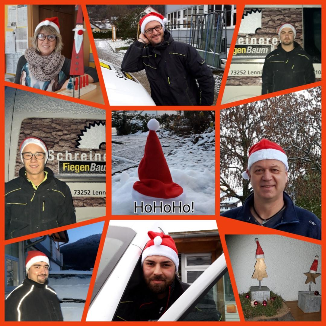 Bildercollage der Mitarbeitenden mit Nikolausmütze